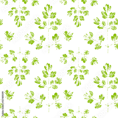 Tapeta Seamless pattern with paint prints of leaves