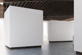 Art gallery concrete floor, wooden ceiling, side