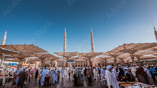 Fotobehang Blauwe jeans Muslims come to Medina annually while performing pilgrimage Hajj.