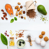 Selection food sources of omega 3 . Super food high omega 3 and unsaturated fats for healthy food. Almond ,pecan ,hazelnuts,walnuts ,olive oils ,fish oils ,salmon ,flax seeds ,chia ,eggs and avocado . - 137498921