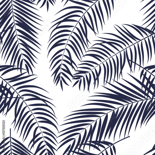 Beautifil Palm Tree Leaf  Silhouette Seamless Pattern Background - 137503523