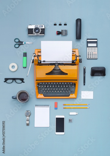 Poster eighties typewriter and items cloud