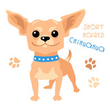 Cute funny dog tan shorthaired deer head Chihuahua breed vector