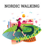 Vector illustrated card with Nordic Walking.