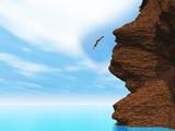 3D female diving off a cliff