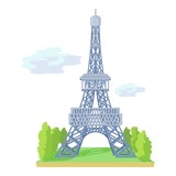 Eiffel tower icon, cartoon style