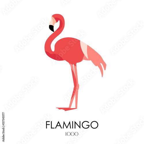 Flamingo vector icon. Logo. Flat design.
