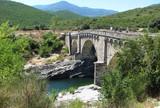 The Genoese bridge with three arches on the Tavignano river, near Altiani, Corsica