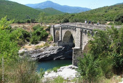 Poster The Genoese bridge with three arches on the Tavignano river, near Altiani, Corsi