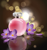 Pink bottle womens perfume with spring flowers crocuses on blurred background. Vector