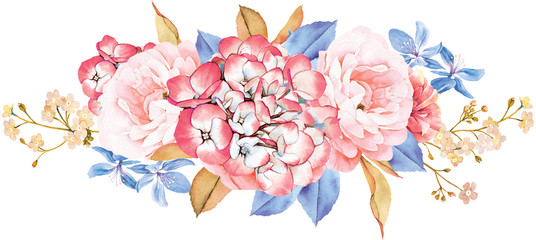 Floral bouquet made of roses, blue leaves, branches on white background. Valentine's background. Watercolor illustration © anamad