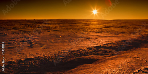 Poster Martian sunset (Mars planet) red landscape
