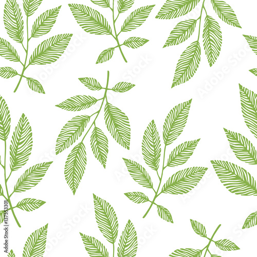 Seamless pattern with hand drawn branches. - 137553301