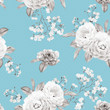 Floral seamless pattern made of colorless roses, branches on blue background. Watercolor illustration