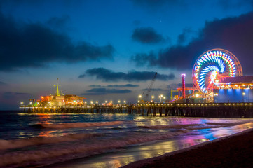 Night Los Angeles, Ferris Wheel in Santa Monica. California