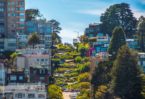 Famous Lombard Street in San Francisco, California Poster