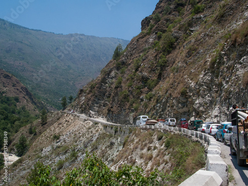 Traffic jam in the Himalayas. The road to Shimla. India.