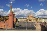 View of the Kremlin, square Vasilevsky descent, St. Basil's Cathedral and Bolshoy Moskvoretsky bridge, Moscow, Russia