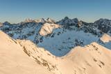 Poland, Winter High Tatras seen from Zawrat pass