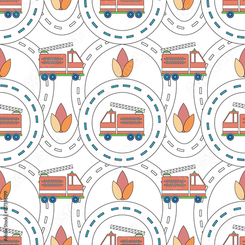 Tuinposter Op straat Vector seamless background with cartoon roads and fire truck. It can be used as a pattern for textile, wrapping paper, children's play mat, board games, ornamental template for design and decoration.