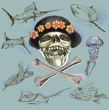 pirate skull and underwater life - hand drawn vector - 137596394