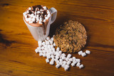 Hot chocolate marshmallows and cookie
