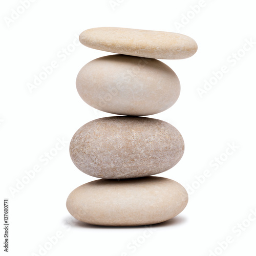 Fotobehang Spa pebble tower on a white background