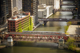 Chicago river with metro L train
