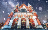 Church St. Joseph in Krakow. Fantastic starry sky. Photo greetin