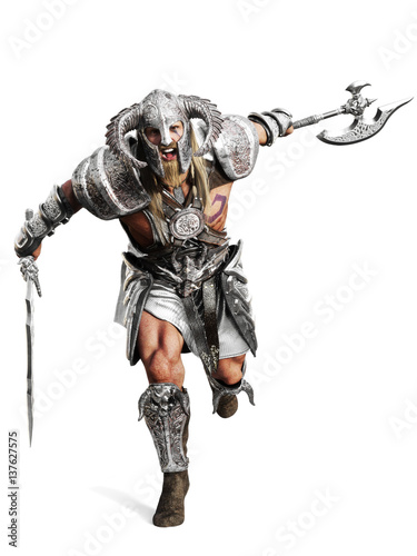Fierce armored barbarian warrior running into battle on an isolated white background. 3d rendering illustration