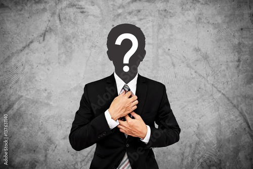 Poster Businessman with question mark on head, on concrete wall background