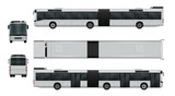 Articulated city bus vector illustration. Urban transport isolated on white. The ability to easily change the color. View from side, back, front and top. All sides in groups on separate layers.