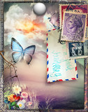 Old fashioned postcard with butterfly,full moon, and vintage stamps