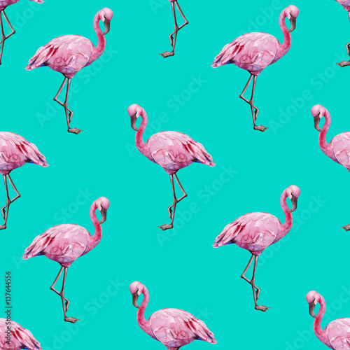 Seamless watercolor illustration of tropical pink flamingo birds. Trendy pattern with tropic summertime motif. Exotic Hawaii art background. Design for fabric and decor.