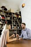 Couple drinking vine in restaurant
