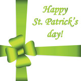 St. Patrick's day card, Green  ribbon with bow on white background with lettering.