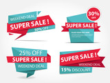 Fototapety Colorful shopping sale banner template, discount sale banner collection set