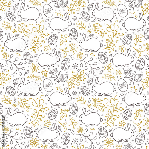 Cotton fabric floral easter pattern