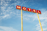 Motel Sign against a blue sky along the Route 66, USA; Concept for travel in America and Road Trip