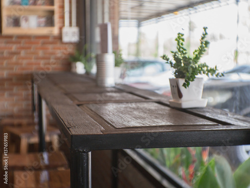 Table in a cafe. Poster