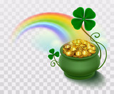 Rainbow, green leaf lucky clover and pot full of gold - 137659531
