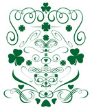 Set design elements for St. Patricks Day. Vignettes, frames, curlicues, whorls, hearts, flowers and leaves of clover, trefoil, shamrock for St. Patricks Day. Editable vector elements for design