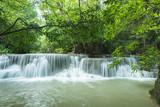 Beautiful and Breathtaking green waterfall, Erawans waterfall, Located Kanchanaburi Province, Thailand