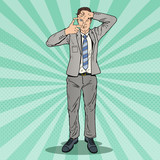 Fototapety Pop Art Happy Businessman Focusing with his Hands. Vector illustration