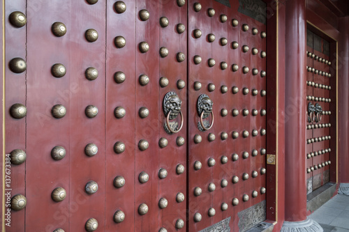 Chinese temple front doors Poster