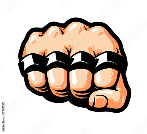 Fotobehang Pop Art Clenched fist, brass knuckles. Gangster, thug, bandit symbol. Cartoon vector illustration