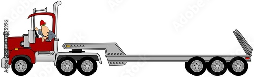 Illustration of a driver looking back while reversing his tractor trailer.
