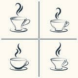 Fototapety Coffee cups with smoke icon set. Vector illustration