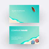 Summer concept, beach and sea. vector professional business card