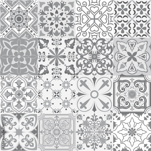 Big vector set of tiles background in grey. - 137685768